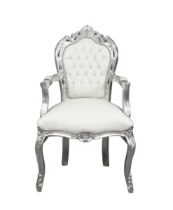 Pic-Event Location Fauteuil baroque blanc argent