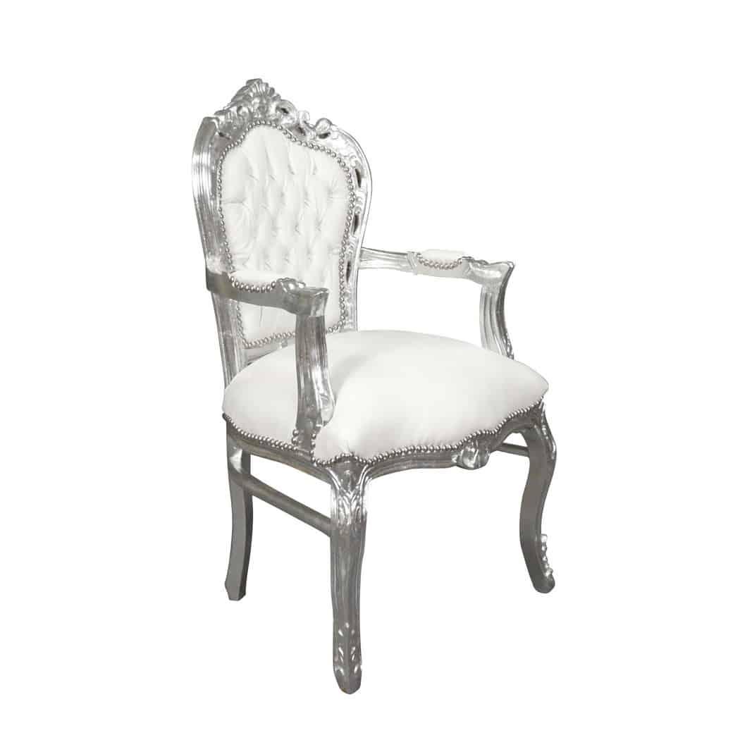 location fauteuil baroque blanc et argent - Chaise Baroque