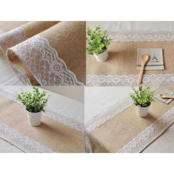 Pic-Event Location Chemin table toile jute dentelle 30x275cm