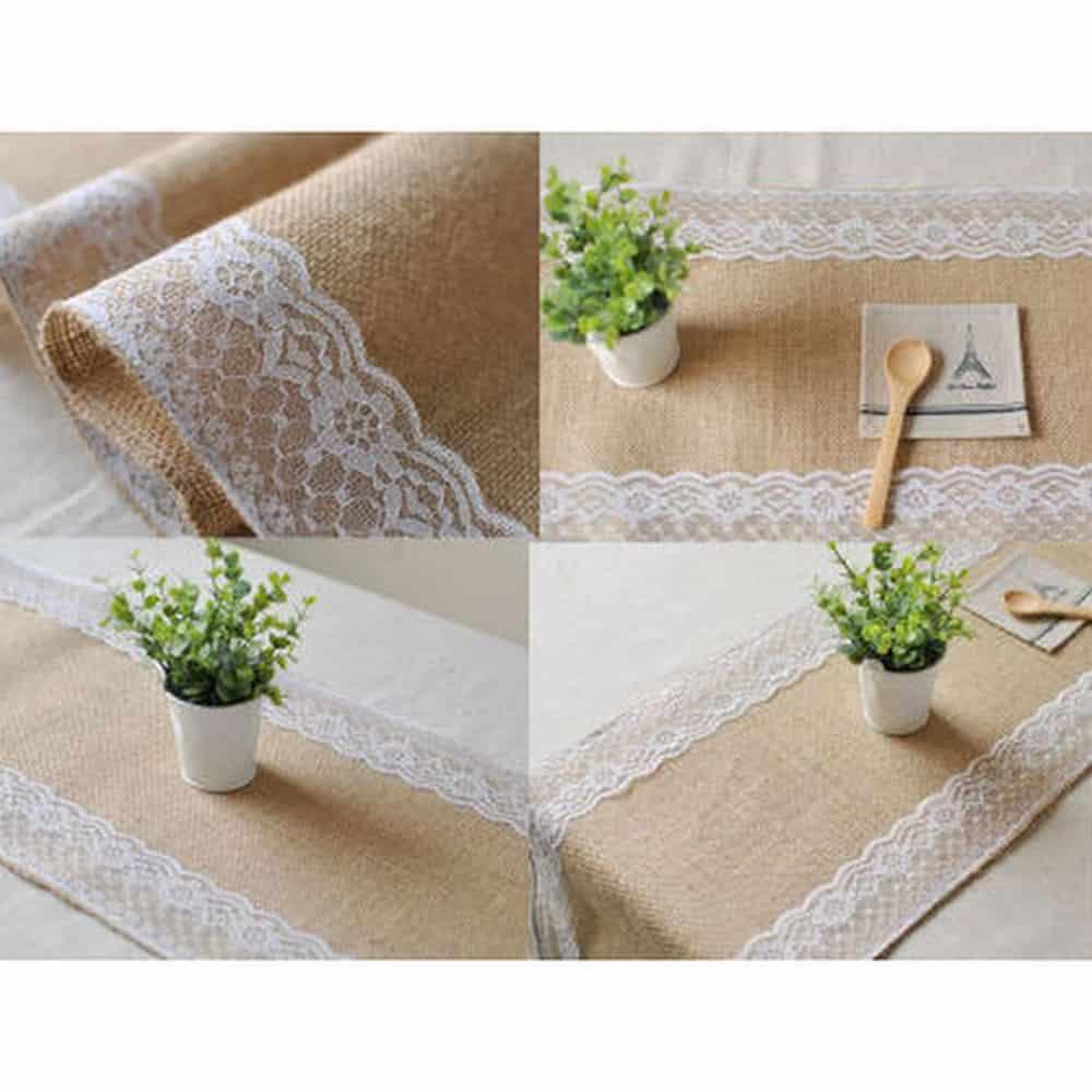 location chemin de table en toile de jute avec dentelle pic event. Black Bedroom Furniture Sets. Home Design Ideas