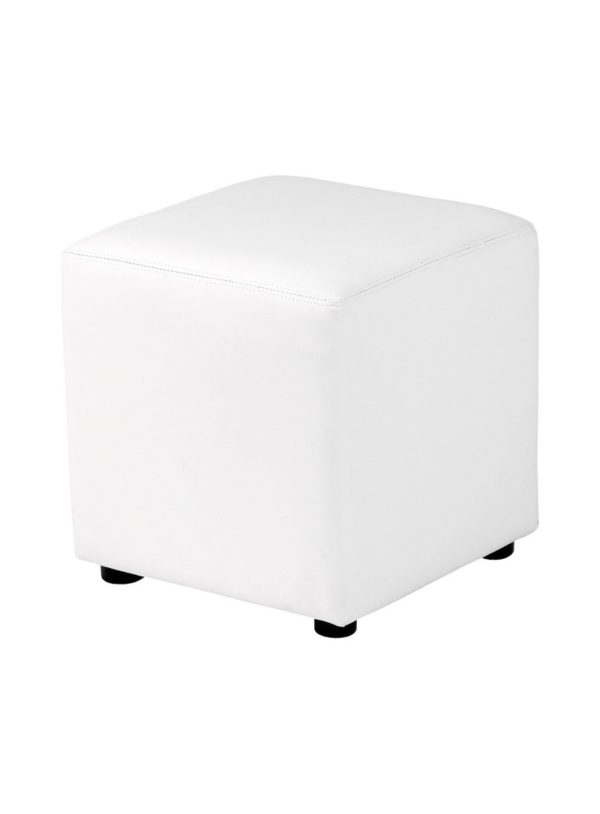 Pic-Event Location Pouf Carré simili Blanc 40cm